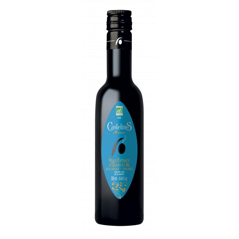 CastelineS bouteille huile extraite olive et AIL bio