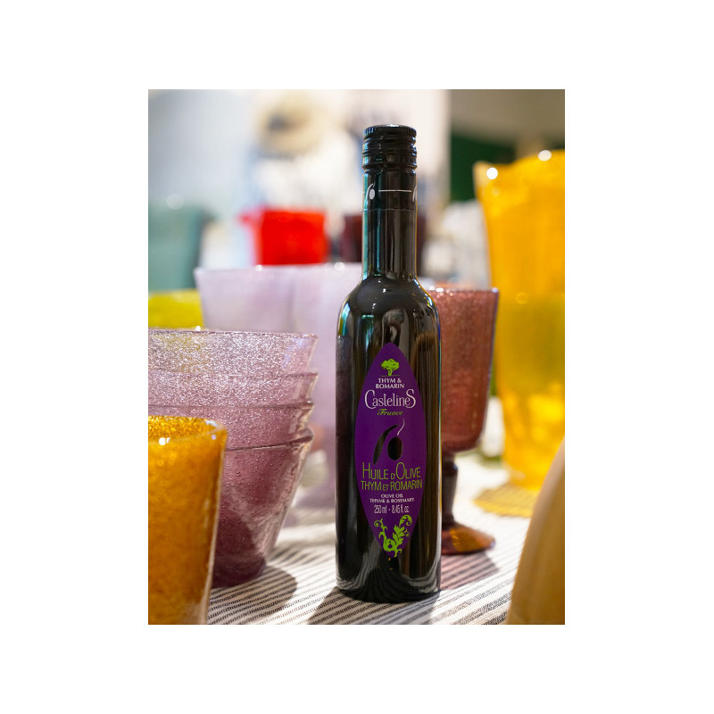 Huile d'Olive Thym et Romarin bouteille 250ml