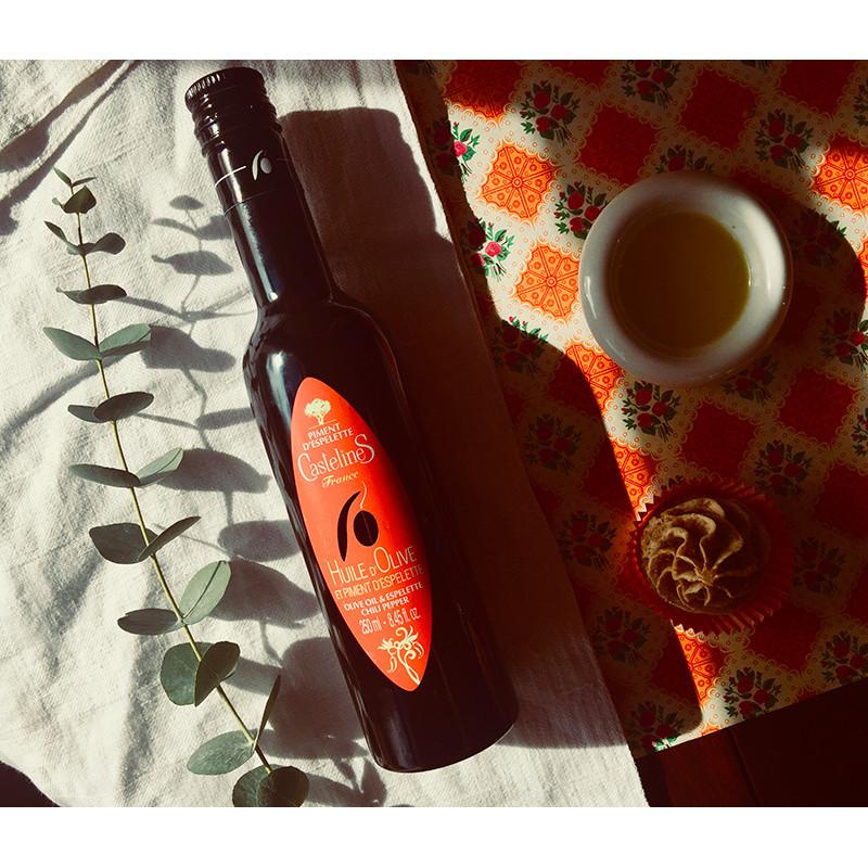 Huile d'Olive et Piment d'Espelette bouteille 250ml