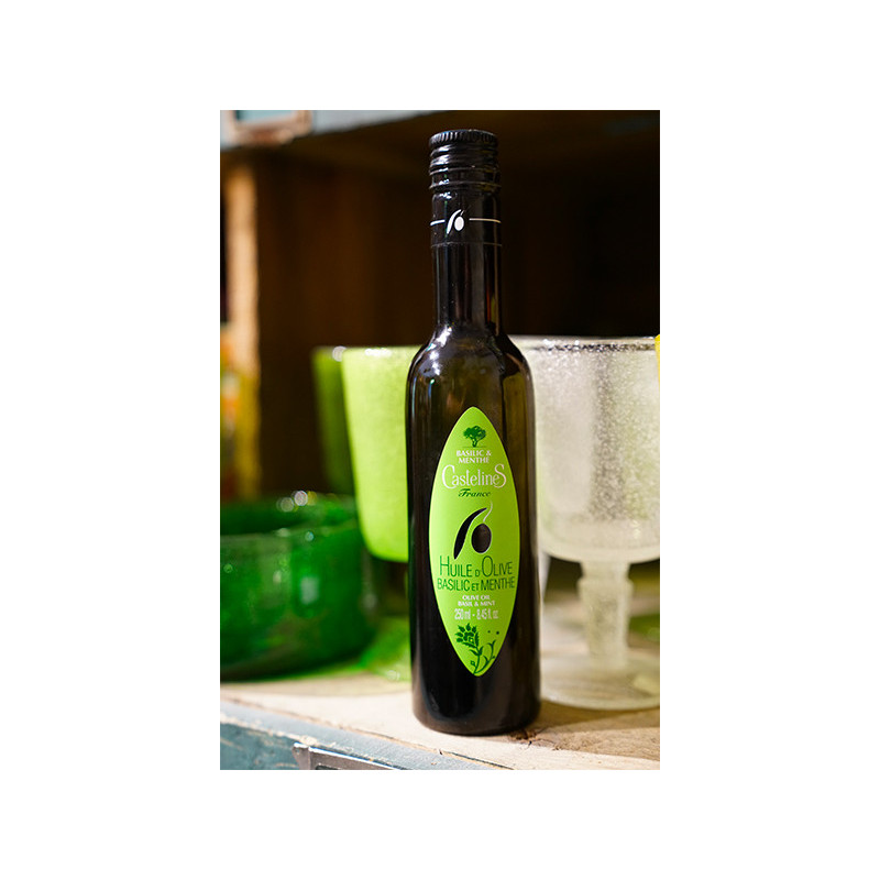 Extra Virgin Olive Oil, Basil and Mint 250ml bottle